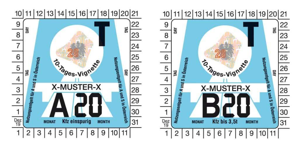 Aktuálna podoba rakúskej diaľničnej známky pre rok 2020